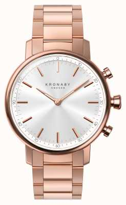 Kronaby 38mm carat bluetooth rose bracelet en or argent smartwatch A1000-2446