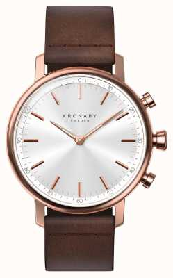 Kronaby Bracelet en cuir or rose avec bluetooth de 38 mm carats a1000-1401 S1401/1