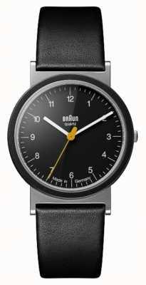 Braun Classic 1989 hommage design noir bracelet en cuir noir cadran AW10