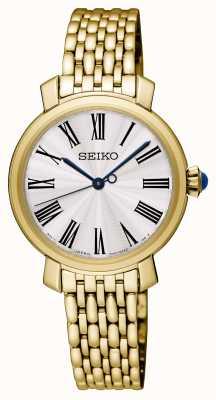 Seiko Bracelet plaqué or pour femme montre cadran blanc SRZ498P1