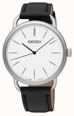 Seiko Womens recraft montre bracelet en cuir noir cadran blanc SUR237P1