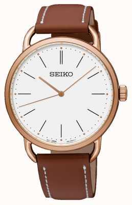Seiko Bracelet pour femme avec bracelet en cuir marron et plaqué or rose SUR238P1