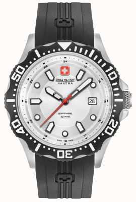 Swiss Military Hanowa Patrol argent cadran noir bracelet en silicone 06-4306.04.001SM