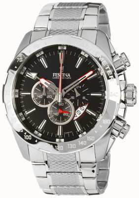 Festina Bracelet chronographe homme en acier inoxydable avec cadran noir F16488/5