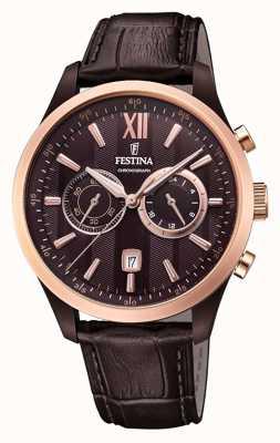Festina Chronographe homme cuir marron bracelet brun F16999/1
