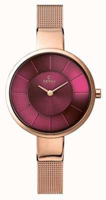 Obaku Womens sol violet cadran rose maille or bracelet V149LXVQMV