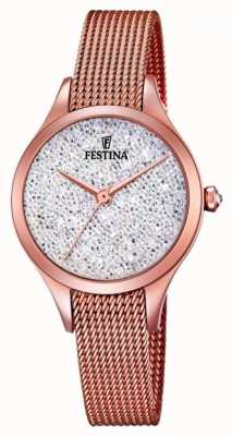 Festina Womens mademoiselle rose or pvd maille swarovski cadran F20338/1