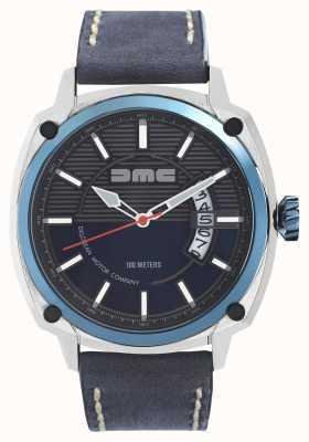DeLorean Motor Company Watches Bracelet pour homme en cuir bleu Alpha dmc bleu gris DMC-2