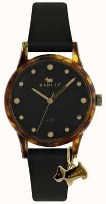Radley Mesdames noir 33mm boîtier noir cadran noir chien charme RY2640
