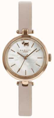 Radley Mesdames 29mm boîtier cadran blanc poussière bracelet en cuir rose RY2654