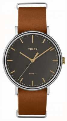 Timex Fairfield 41mm bracelet en cuir marron etui en chrome TW2P97900