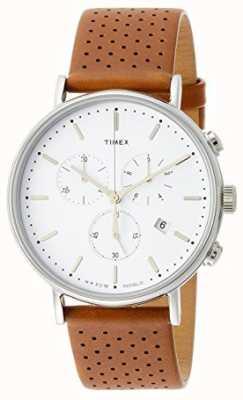 Timex Bracelet cuir marron Fairfield chrono / cadran blanc TW2R26700