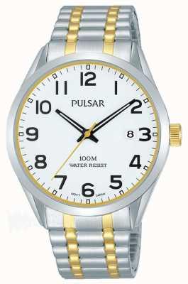 Pulsar Mens | bracelet deux tons en acier inoxydable | cadran blanc | PS9565X1