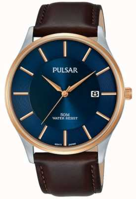 Pulsar Boîtier en or rose plaqué or bracelet en cuir noir cadran bleu PS9546X1
