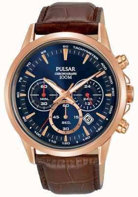 Pulsar Bracelet en cuir marron boîtier en or rose cadran bleu chrono PT3922X1