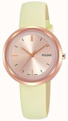 Pulsar Boîtier en or rose et cadran en cuir PH8394X1