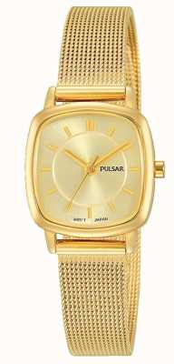 Pulsar Femmes | bracelet en maille d'acier inoxydable doré | cadran en or | PH8380X1