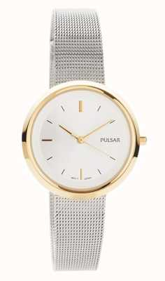 Pulsar Femmes   bracelet en maille d'acier inoxydable   boîtier rond en or   PH8386X1