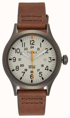 Timex Allied 40 bracelet en cuir marron / cadran naturel TW2R46400