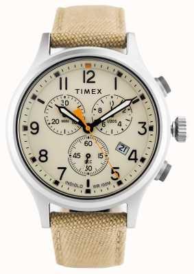 Timex Bracelet en nylon chrono kaki allié / cadran naturel TW2R47300