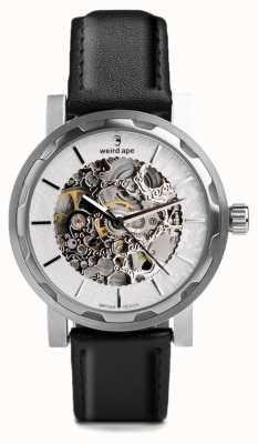 Weird Ape Kolt automatique bracelet en cuir noir boîtier en acier inoxydable WA02-005531
