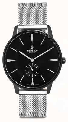 Weird Ape Mayfair noir cadran blanc marqueurs argent bracelet en maille WA02-005625