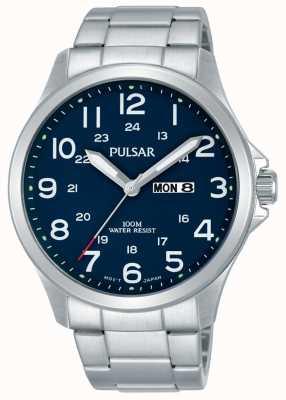 Pulsar Bracelet en acier inoxydable pour homme bleu date jour PJ6095X1