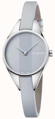 Calvin Klein Mesdames rebelle bracelet en cuir gris cadran gris K8P231Q4