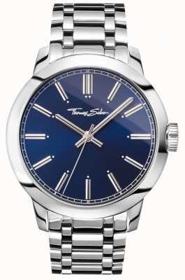 Thomas Sabo Mens rebelle au coeur regarder bracelet en acier inoxydable cadran bleu WA0310-201-209-46