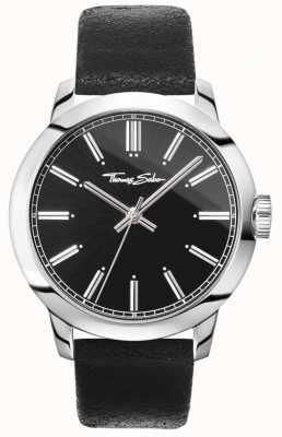 Thomas Sabo Mens rebelle au coeur montre bracelet en cuir noir cadran noir WA0312-203-203-46