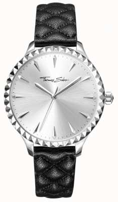 Thomas Sabo Womens rebel at heart watch bracelet en cuir noir cadran argenté WA0320-203-201-38