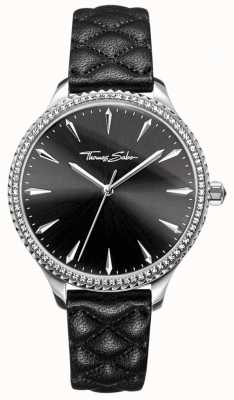 Thomas Sabo Womens rebel at heart watch bracelet en cuir noir cadran noir WA0322-221-203-38