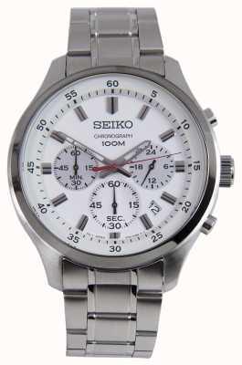 Montre chronographe sport Seiko pour homme bracelet en argent cadran blanc SKS583P1
