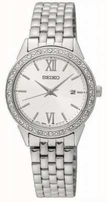 Seiko Ladies bracelet en métal argenté cadran blanc SUR695P1