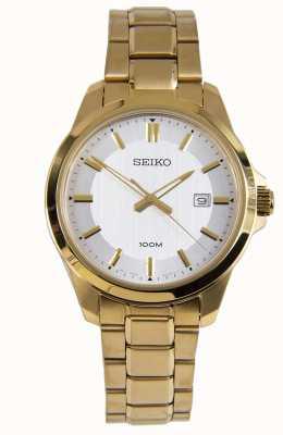 Seiko Montre habillée homme or bracelet blanc SUR248P1