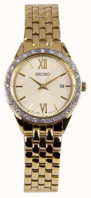 Seiko Mesdames montre or bracelet or cadran SUR688P1