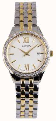 Seiko Mesdames deux tons argent et or robe montre SUR690P1