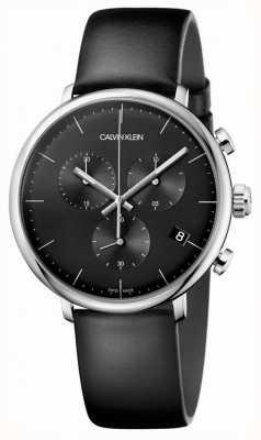 Calvin Klein Montre chronographe à bracelet en cuir noir pour homme haute midi K8M271C1