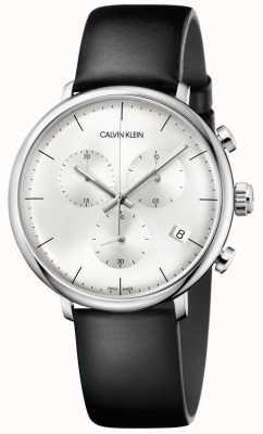 Calvin Klein Montre chronographe à bracelet en cuir noir pour homme haute midi K8M271C6