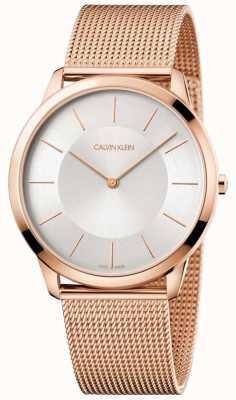 Calvin Klein Mens minime or rose bracelet en maille montre argent cadran K3M2T626