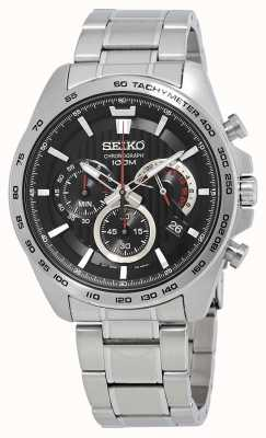 Seiko Montre chronographe homme bracelet argent cadran noir SSB299P1