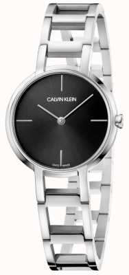 Calvin Klein Mesdames acclamations argent cadran noir montre en acier inoxydable K8N23141