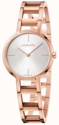 Calvin Klein Mesdames acclamations or rose pvd plaqué montre argent cadran K8N23646