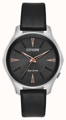 Citizen Montre femme eco-drive modena en cuir noir EM0591-01E