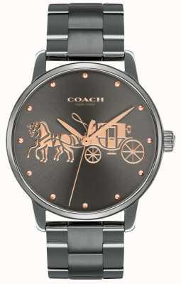 Coach Womens grand noir ip plaqué boîtier et bracelet en or rose imprimer 14502924