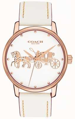 Coach Bracelet en cuir blanc pour femme avec cadran blanc et boîtier en or rose 14502973