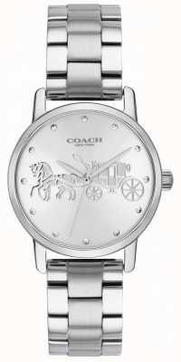 Coach Womens grand boîtier noir et bracelet en acier inoxydable argent 14502975
