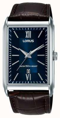 Lorus Montre rectangulaire homme bracelet en cuir marron cadran bleu RH911JX9