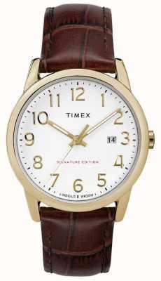 Timex Signature de lecteur facile avec la montre en cuir de date de 38mm TW2R65100