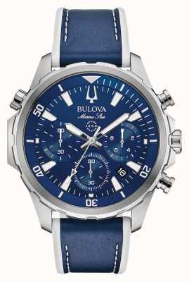Bulova Bracelet chronographe en cuir marine 96B287